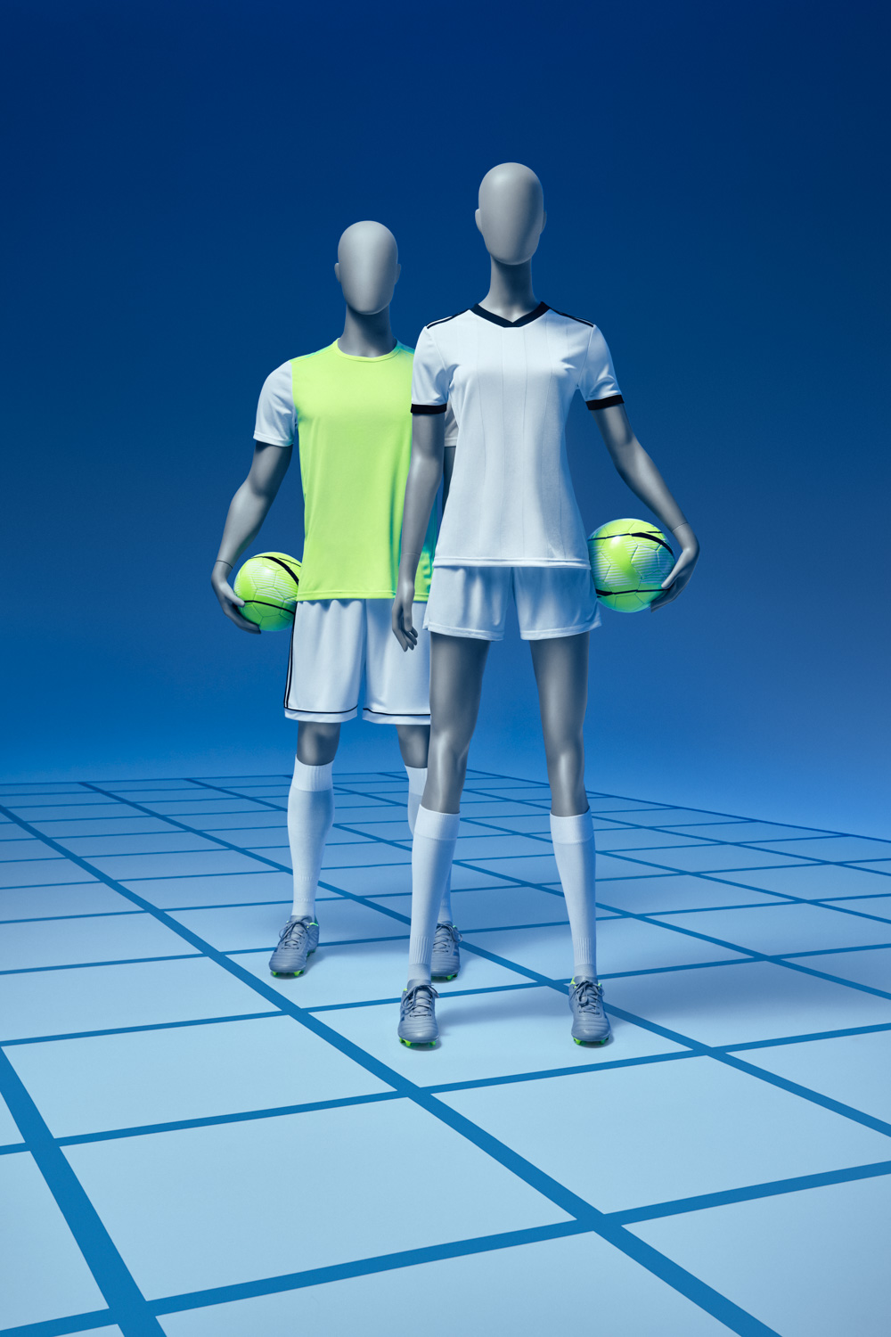 Football mannequins, female and male