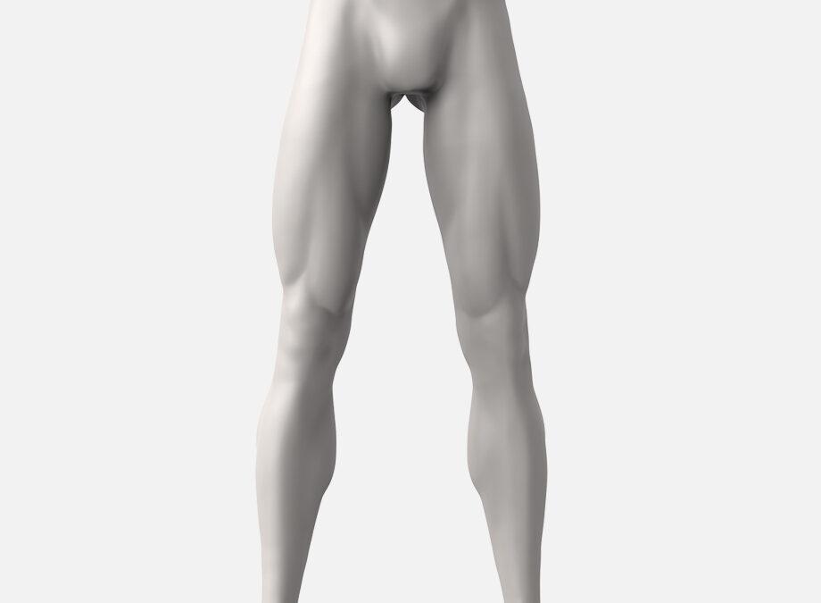 Expositor masculino de piernas deportivas