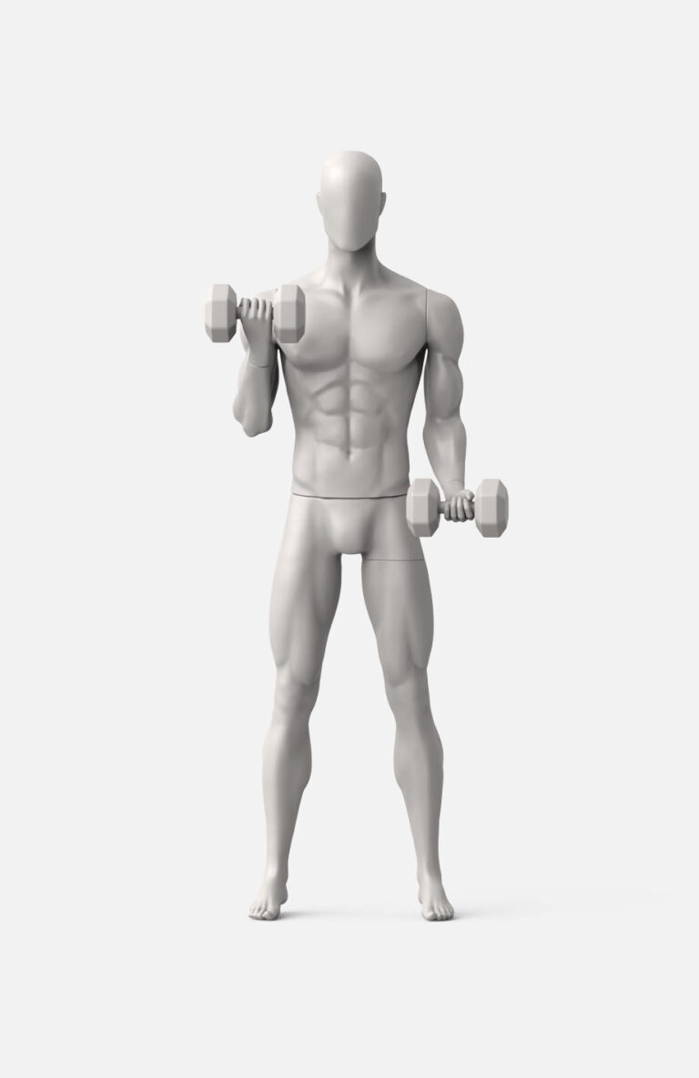 Male sport mannequin with dumbbells