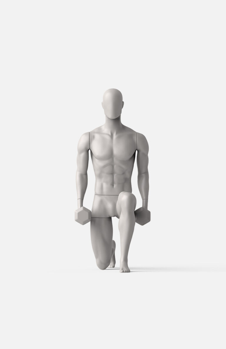 dumbbell lunge male mannequin