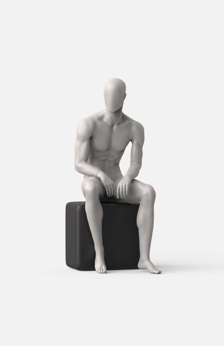 Seated male sports mannequin